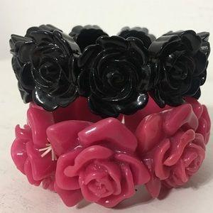 Vintage Rose Carved Pink & Black Stretch Bracelets